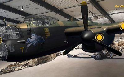 Bommenwerper vliegt door Oorlogsmuseum Overloon